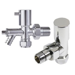 Angled Chrome Valve & Drain Off for Radiators & Towel Rails (Pair)