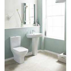 Ava Square Rimless Toilet Pan, Cistern and Soft Close Toilet Seat