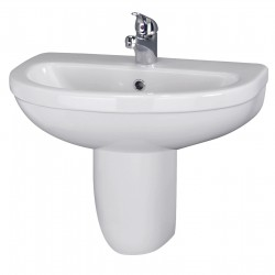Ivo 550mm Basin 1 Tap Hole & Semi Pedestal