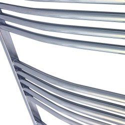 Curved Chrome Towel Rail - 500 x 1600mm - Closeup