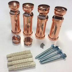Straight Copper Towel Rail - 300 x 1200mm - Brackets