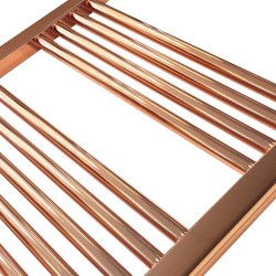 Straight Copper Towel Rail - 300 x 1200mm - Closeup