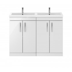 Athena Gloss White 1200mm Floor Standing Cabinet & Double Basin
