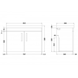 Athena Brown Grey Avola Wall Hung 800mm Cabinet & Basin Opt 3 - Technical Drawing