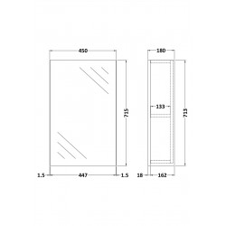 Athena Brown Grey Avola 450mm Mirror Cabinet - Technical Drawing