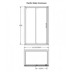 Pacific Sliding Shower Door 1100mm - Technical Drawing