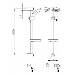 Dune Thermostatic Bar Shower With Slide Rail kit - Technical Drawing