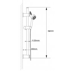 Slide Rail Kit With Adjustable Bracket And Multi Function Handset - Technical Drawing