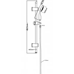Slide Rail Kit With Single Function Handset - Technical Drawing