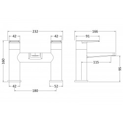 Bailey Bath Filler Tap Deck Mounted Dual Handle - Technical Drawing