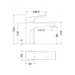 Hardy Mono Basin Mixer Tap with Waste - Technical Drawing