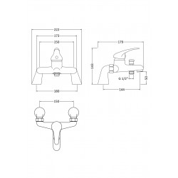 Eon Single Lever Bath Shower Mixer Tap Deck Mounted - Technical Drawing